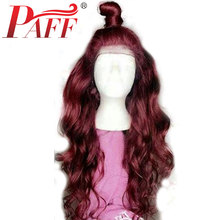 PAFF 99j Burgundy Body Wave 360 Lace Frontal Human Hair Wigs Ombre Red Wine Front with Baby Remy Pre Plucked