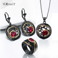 Charming black 3pcs jewellery set dangle earrings ring pendant red crystal jewelry sets for Halloween party