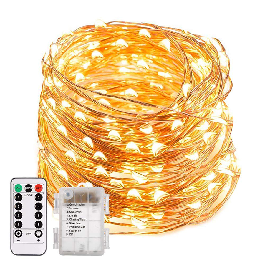 5m 10m Copper Wire LED String Light Christmas Lights With Remote Controller For Wedding Party Holiday Halloween Decoration Light