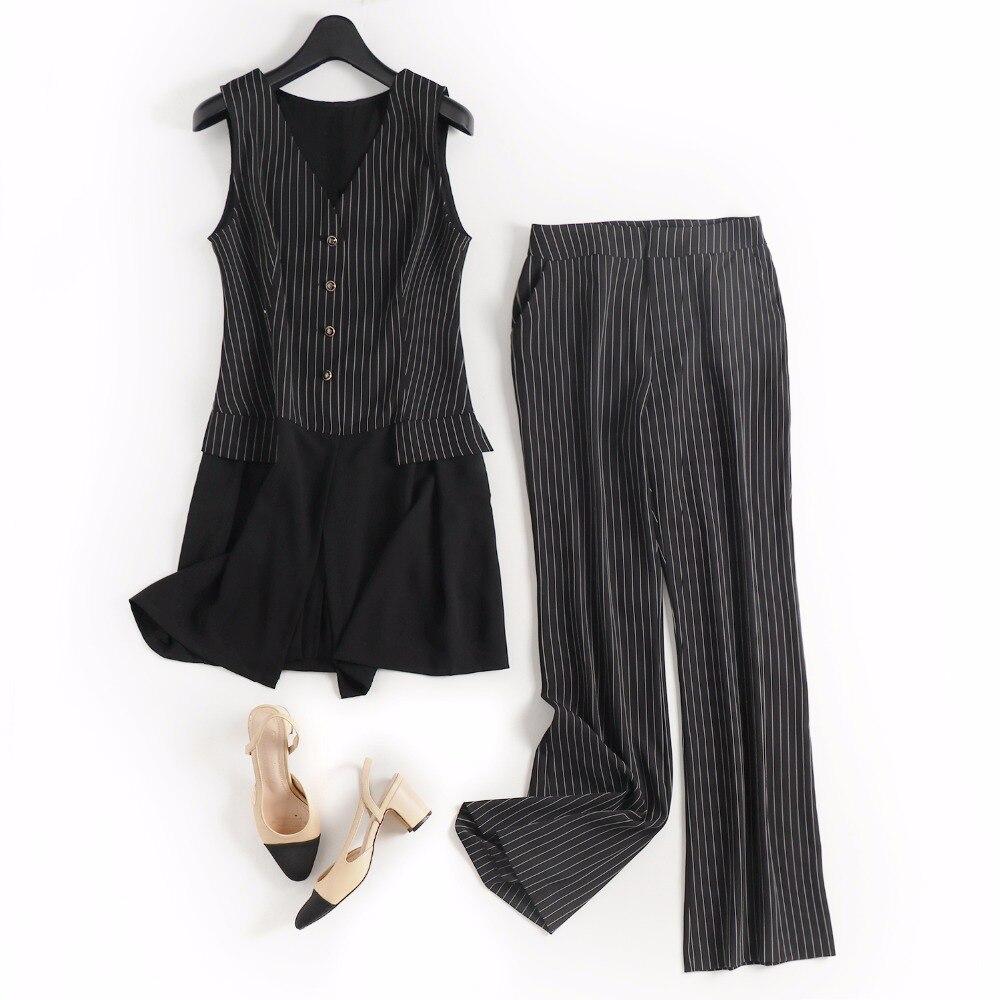 fe506b815 € 66.93 |Printemps automne femme outfit blanc bande motif gris noir longues  costume gilet lâche pantalon équipement en deux pièces casual bureau ...