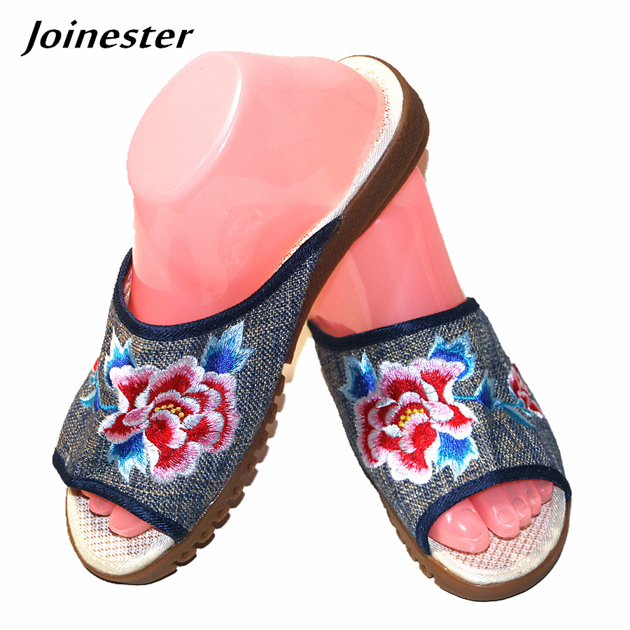 Chinese Floral Peony Embroidered Linen Hemp Open Mouth Summer Slipper Vintage Flat Heeled Casual Holiday Slides for Women bestlead chinese peony pattern zirconia ceramics 4 6 knife chopping knife peeler holder