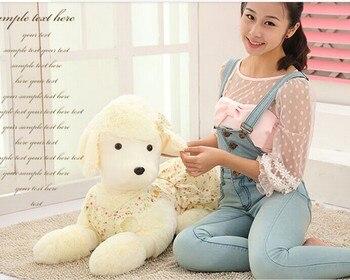 huge 90cm toy poodle dog plush toy,floral skirt dog hugging pillow gift d8918