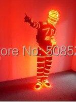 Праздничная Вечеринка LED этап одежда светящиеся одежды круто шлем мода привела костюм одежда оборудование дистанционного Размеры Индивиду