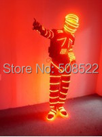 Festive Party Supplies LED Stage Wear Glowing Clothes Cool Helmet Fashion LED Costume Clothes Remote Cotrolled Size customized