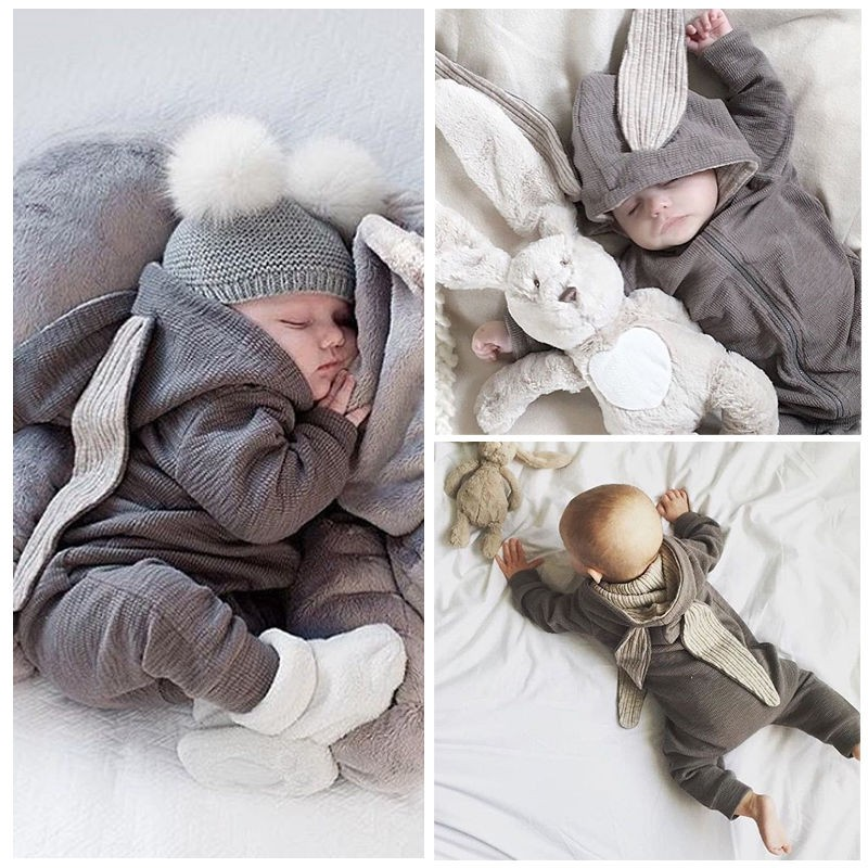 2017 Newborn Infant Baby Girl Boy Clothes Cute 3D Bunny Ear Romper Jumpsuit Playsuit Autumn Winter Warm Bebes Rompers cute newborn baby girl clothes little princess striped bow romper sunsuit infant bebes jumpsuit children clothes