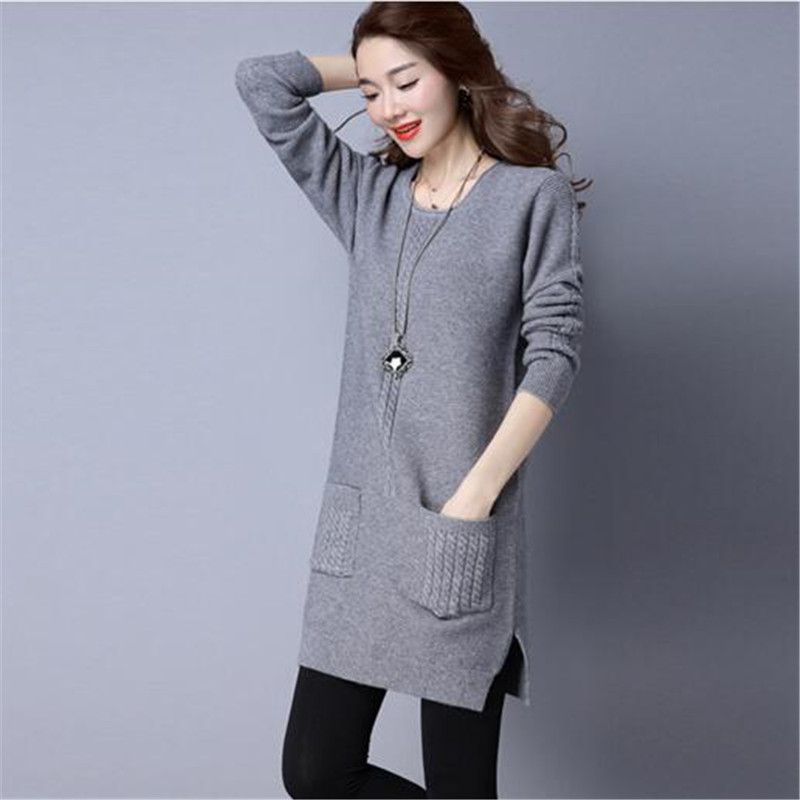 3eab8042f58b Sets new winter women sweater dress in long knitting round collar big yards  render long-sleeved cashmere wool dress 4 color