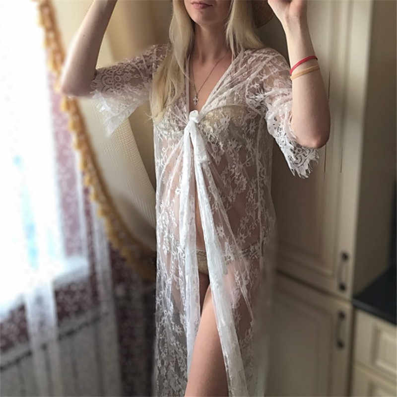2fb535881c7 ... Sexy See Through Lace White Bathing Suit Cover Up Beach Wear Women  Fashion Long Kimono Cardigan