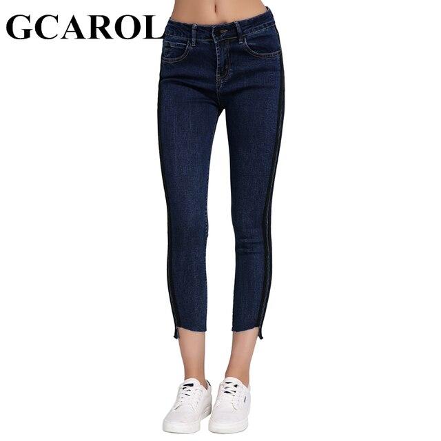 Gcarol Новый High-waisted Ankle Длина Для женщин Брюки сбоку Цвет сращены стрейч тонкий карандаш джинсы XS-L для 4 сезон