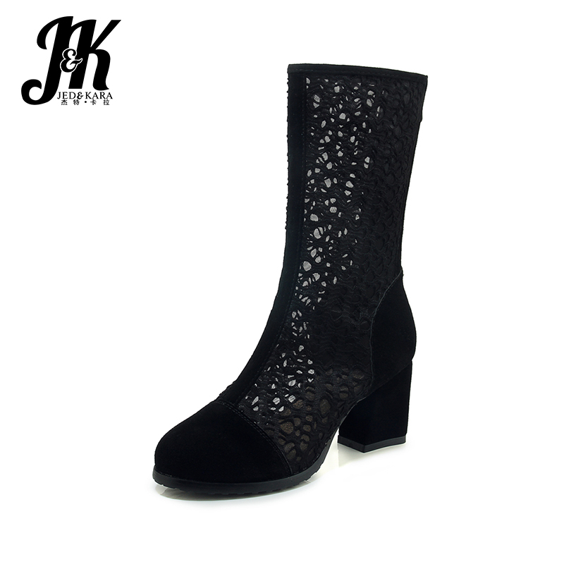 JK 2019 New Summer High Heels Ankle Boots Sexy Women Cow Leather Mesh Thick Heels Patch Zipper Footwear Fashion Ladies Shoes JK 2019 New Summer High Heels Ankle Boots Sexy Women Cow Leather Mesh Thick Heels Patch Zipper Footwear Fashion Ladies Shoes