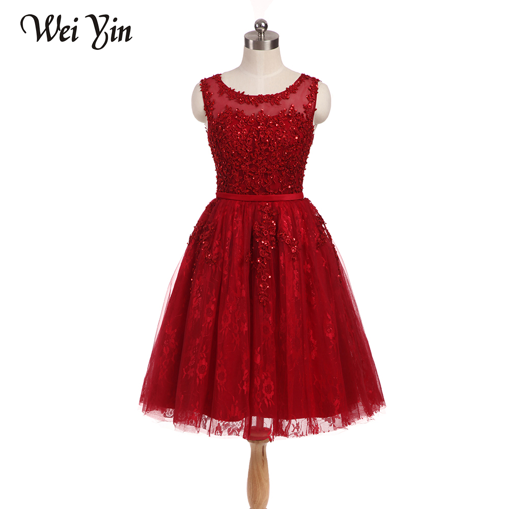 WeiYin Vintage Cap Sleeves Short Party Gowns Lace Appliques A Line Custom Color and Sizes O-Neck   Cocktail     Dresses