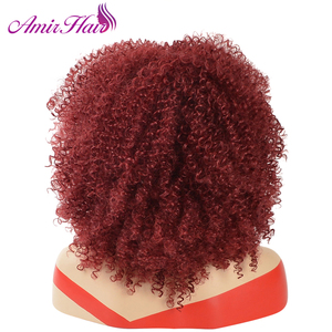 Image 3 - Amir Afro Kinky Curly Short Wigs for Black Women  Mix Brown color Synthetic Wig with combs inside Cosplay