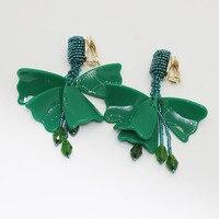 Europa en de Verenigde Staten mode alle handgemaakte bloemen kralen kleine size Impatiens oor clip 752