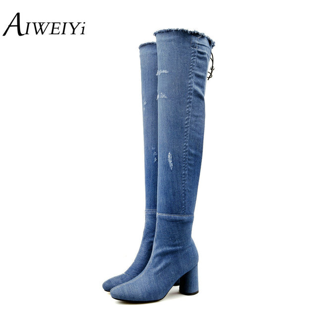 AIWEIYi 2018 Women Over The Knee Boots Square High Heel Winter Shoes Women Denim Skin Side Zip Ladies Snow Boots Size 34-43