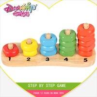 DANNIQITE Montessori schritt für Schritt Spiel Ringe Kinder Vorschule Lehrmittel Zählen und Stapeln Brett Aus Holz Mathematik Spielzeug