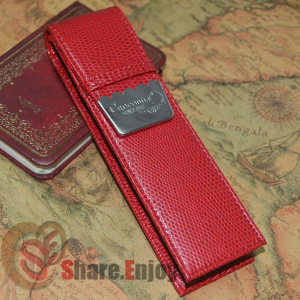 CROCODILE LUXURY RED ROLLER AND FOUNTAIN PENS CASE HOLDER FOR 2 PEN цены