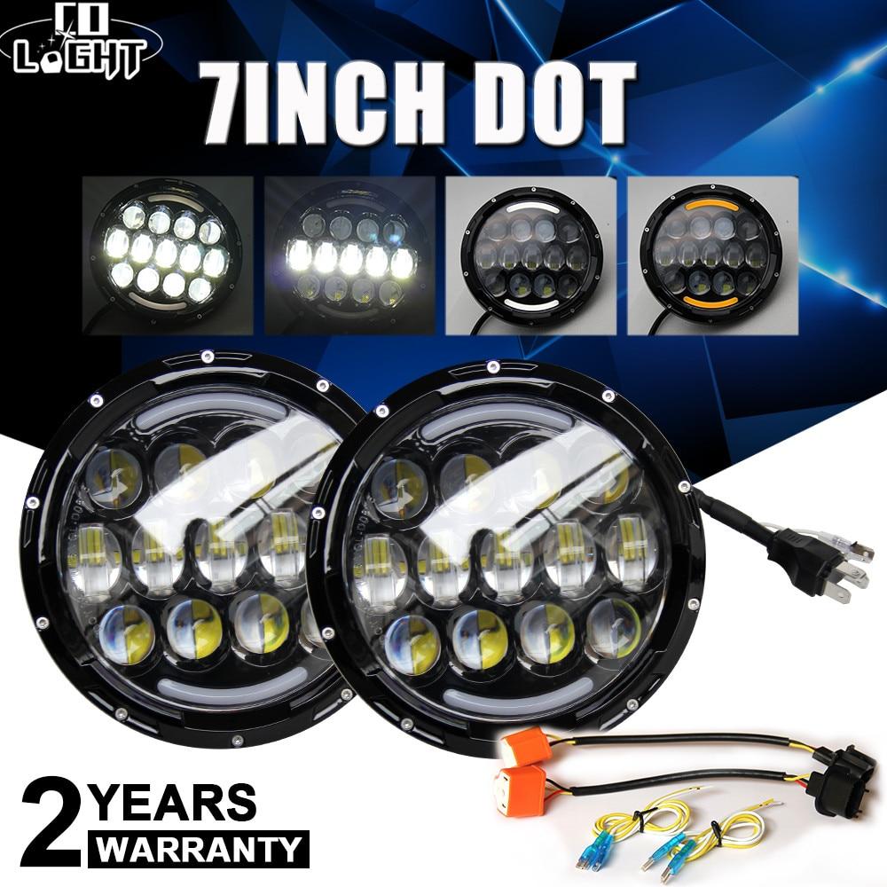 CO LIGHT 105W Round 7 Inch LED Headlight H4 H13 Angel Eye Hi-Lo DRL 12V 24V For Jeep Wrangler Land Rover Lada Niva 4x4 Off-Road