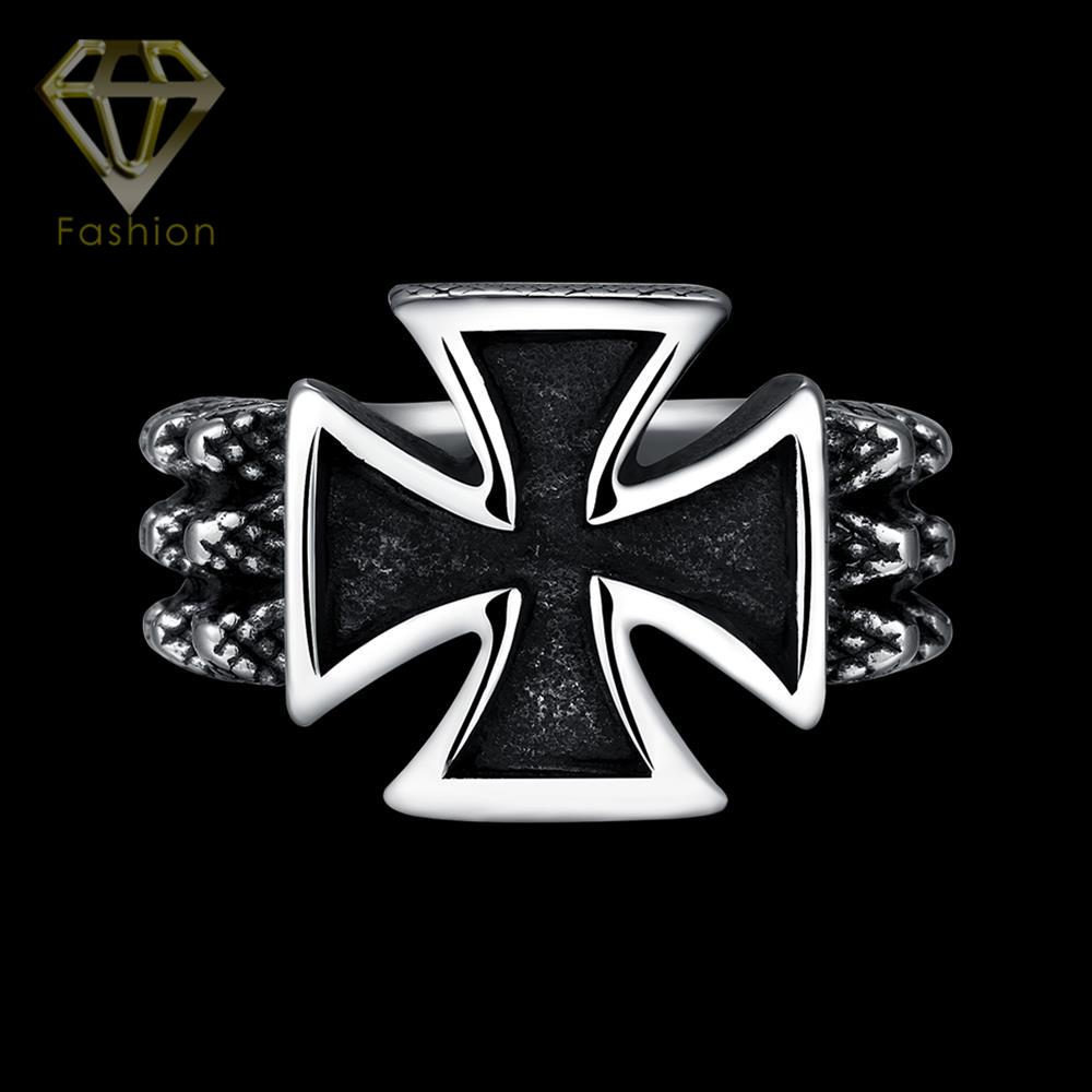 Men Ring New Arrival Punk Biker Finger Rings Black Titanium Stainless Steel Cross Jewelry for Male Boy Gift Party Wholesale