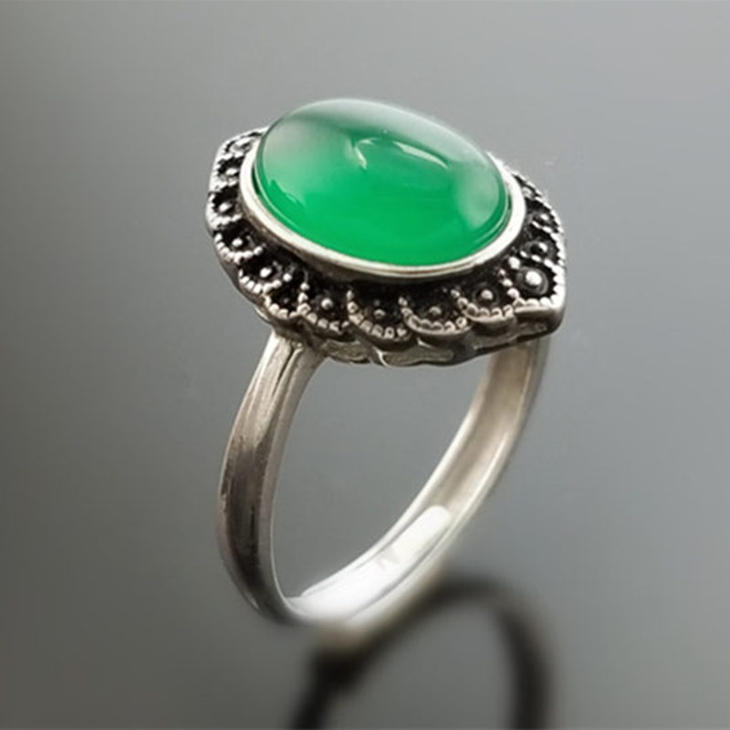 Solid тайский серебро 925 Винтаж Природные Овальный зеленый камень оникс Кольца для Для женщин 925 стерлингов Серебряные ювелирные изделия прос...