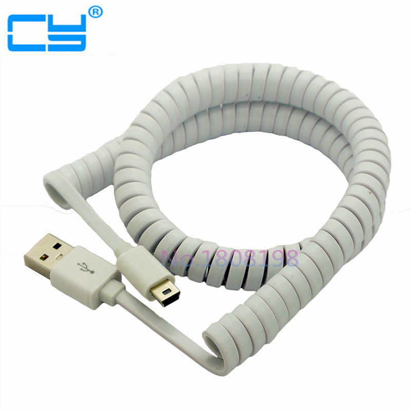 Spring Coiled USB 2.0 Male to Mini USB 5 Pin Data Sync Charger Cable max length retractable 2m 7ft usb 2 0 a male to mini usb b 5pin male curl coiled spring data sync charge cable cord