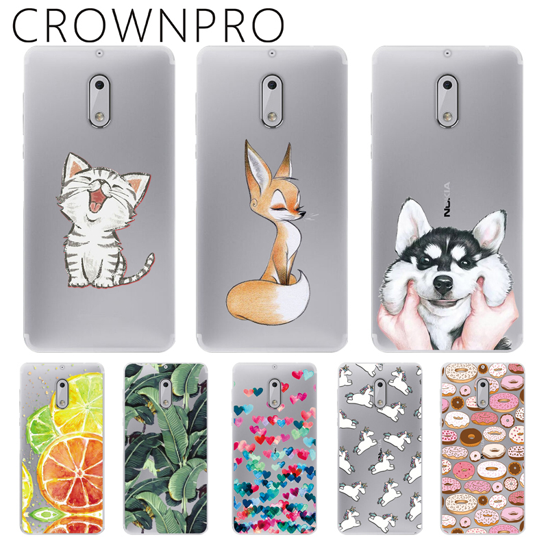 CROWNPRO Cases FOR Nokia 6 2017 TPU Phone Cover Silicone FOR Nokia6 TA-1021 Soft Back Case Transparent FOR Nokia 6 Print Cover