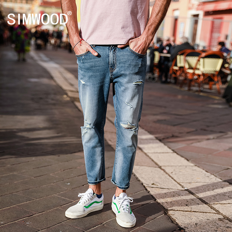 SIMWOOD 2019 Spring Ankle-Length   Jeans   Men Slim Fit Fashion Hole Denim Cotton Trousers Brand Clothing Plus Size Casual 180122