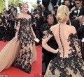 Magnífico manga Larga de encaje negro vestidos de la celebridad 68o Festival de Cannes sexy botones vestidos sirena vestido de noche formal