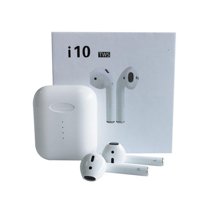 Origine i10 tws sans fil Bluetooth 5.0 écouteurs avec fenêtre pop up Support sans fil charge tactile casque