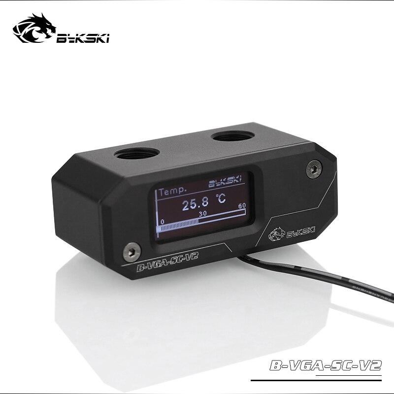 BYKSKI OLED pantalla Digital medidor de temperatura de agua Uso para el adaptador de bloque de GPU añadir en el radiador Sensor de termómetro G1/4' racor
