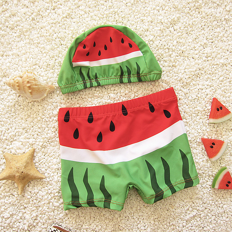Милые для маленьких мальчиков купальные шорты дети купальники W/кепки печатных Todders купальники пляжные купальные костюмы DEO - Цвет: Red watermelon