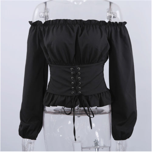 Fashion Women Ladies Long Sleeve Off Shoulder Cropped Tops Blouse Shirt Lace Up Corset