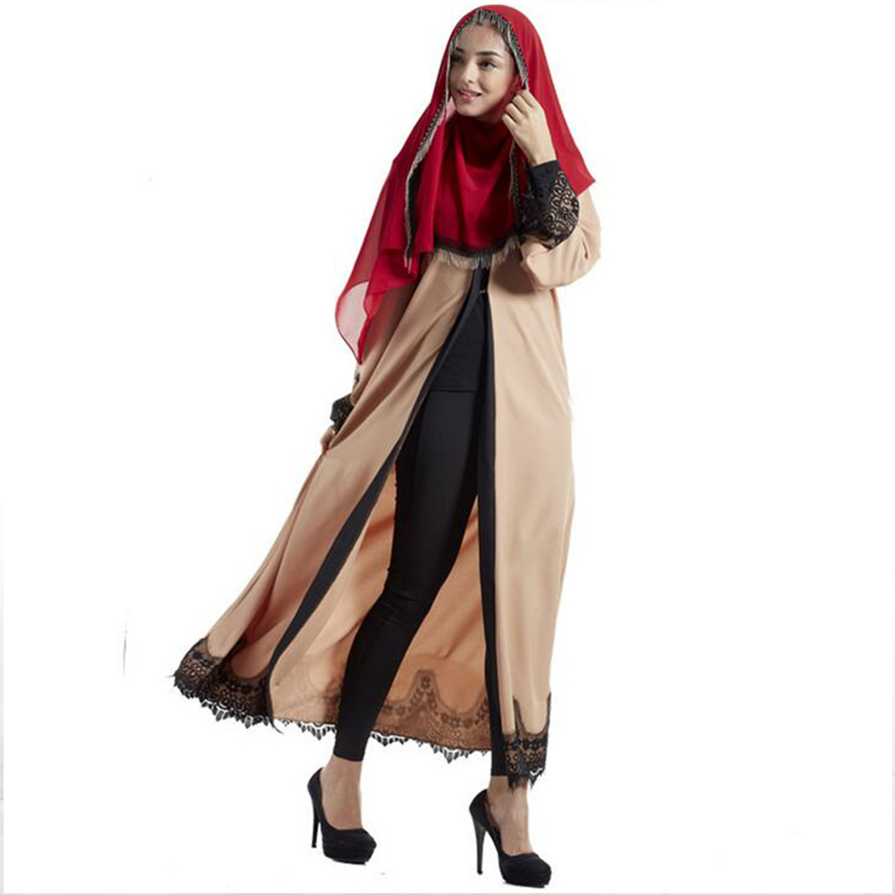 New Fashion Elegant Lace Muslim Långärmad Lin Abaya Arab Turkisk - Nationella kläder - Foto 2