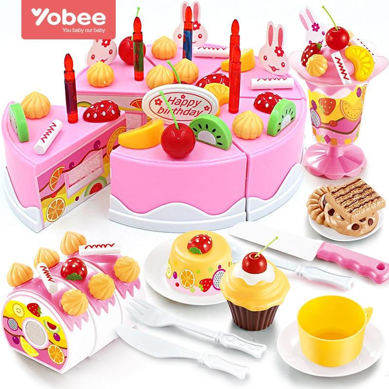 38-75 unids DIY Juegos de imaginación fruta Cúter torta de cumpleaños cocina alimentos Juguetes cocina de juguete rosa azul Niñas regalo para los niños