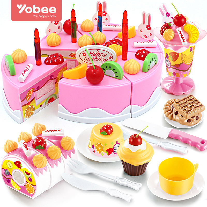 38-75Pcs DIY Pretend Play Fruit Cutting Birthday Cake Kitchen Food Toys Cocina De Juguete Toy Pink Blue Girls Gift for Children ...