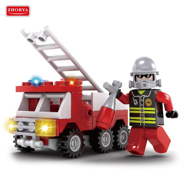 Toy 63 piezas de bloques de construcción de la ciudad de héroe lucha contra incendios escalera fuego camión coche cifras bomberos niños juguetes educativos para niños