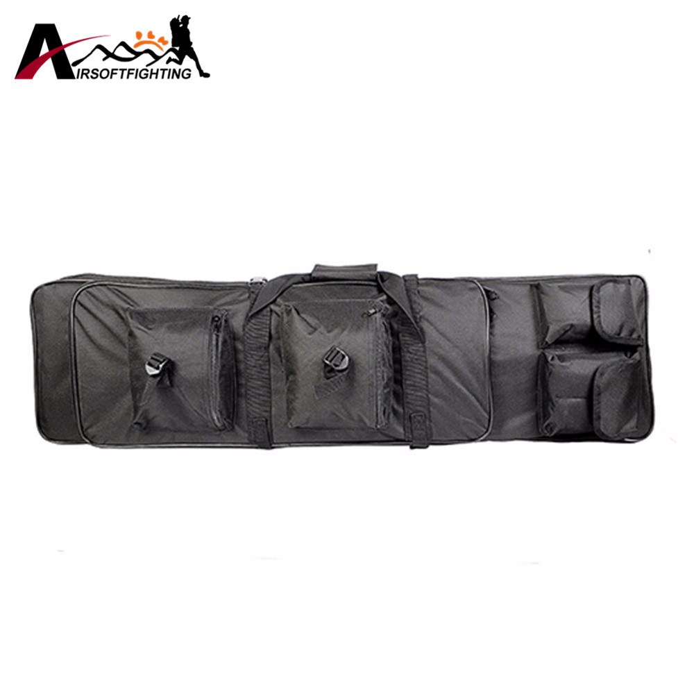 100CM Tactical Dual Rifle Bag with Padding Shoulder Strap Military Airsoft Hunting Shooting Accessories Gun Holster 85cm tactical dual rifle bag shoulder strap airsoft hunting gun backpack handbag protective case magazines accessories pouch