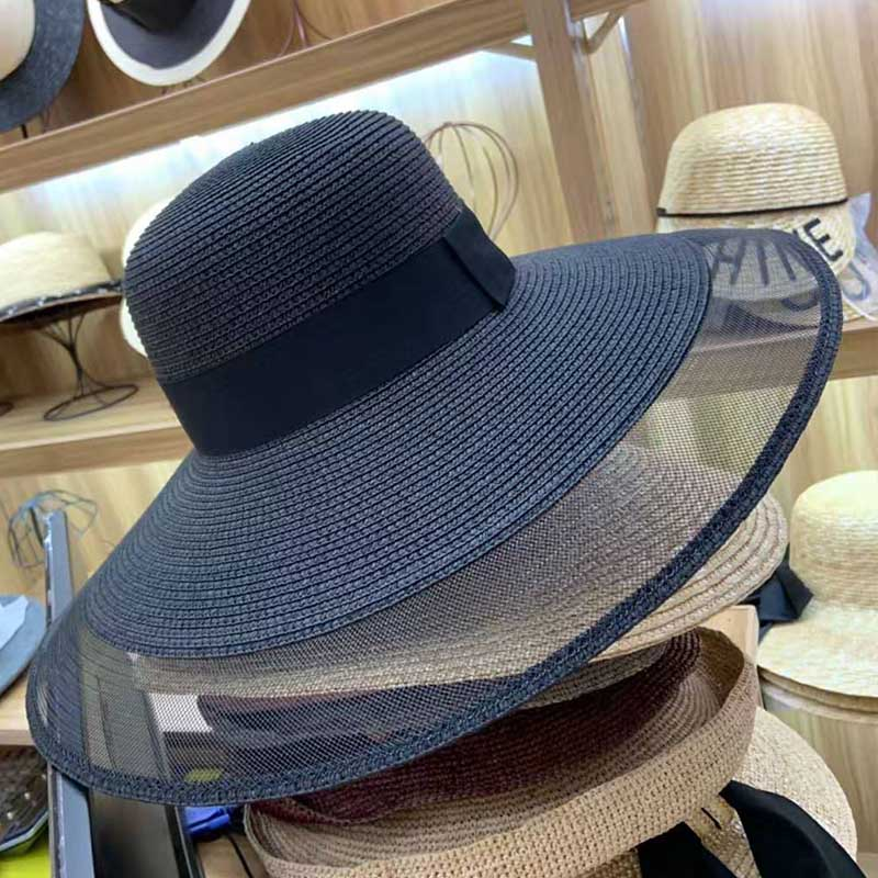 Image 4 - Fascinating Veil Netting Sun Hat UPF 50+ Ladies Kentucky Derby Hats Wide Brim Straw Hat Women Summer Beach Cap Fedoras Dress Hat-in Women's Sun Hats from Apparel Accessories