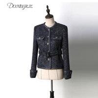 2020 spring short Tweed Jacket Coat Women Belt O Neck Jacket Pocket Woman Slim Jackets High Quality