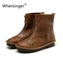Whensinger-2016ฤดูใบไม้ร่วงมาใหม่ผู้หญิงหนังแท้รองเท้า2สีHandsewnรองเท้ายางแต่เพียงผู้เดียวเท้ากลมขนาด35-40 7125