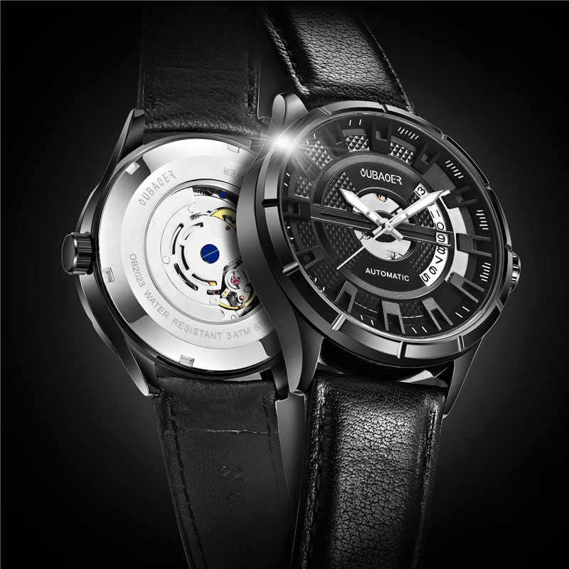 цена Fashion OUBAOER brand automatic mechanical watch men sports men watches wristwatches male clock relogio masculino erkek онлайн в 2017 году