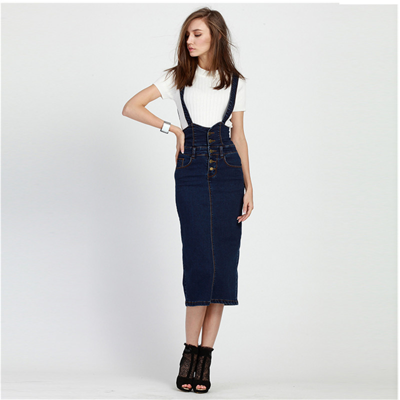 6ee34213318 Plus Size Women Clothing Denim Suspender Skirt Long 2019 Hot Sale Korean  Style Casual Pencil Women Jean Skirts 3XL-in Skirts from Women s Clothing  on ...