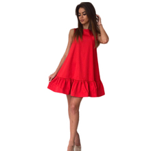 4 Solide Farben Sexy Frauen Sommer Sleeveless O Ansatz Natrual Taille Rüschen Bottom Party Cocktail Short Mini Kleid Strandkleid