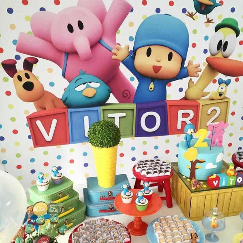 만화 Pocoyo 생일 파티 배경 사진 스튜디오 다채로운 풍선 사진 배경 사진 Telon Fondo Para Fotografia