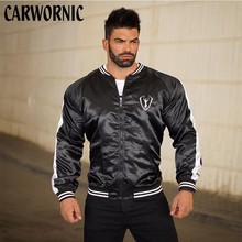 CARWORNIC Autumn Fitness Sweatshirt Men Standing Collar Long Sleeve Streetwear Casual Zipper Fit Slim Clothing