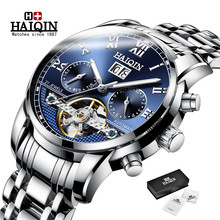 Automatic Mechanical Mens Watches Top Brand HAIQIN Luxury Men Watch Business Tourbillon Military Male Wrist watch Reloj Hombres hot 2016 nary luxury brand business men s automatic skeleton mechanical military wrist watchmen full leather band reloj