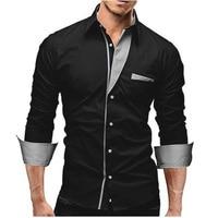 2017 Dress Shirts Mens Brand Striped Shirt Cotton Slim Fit Chemise Long Sleeve Shirt Men Casual
