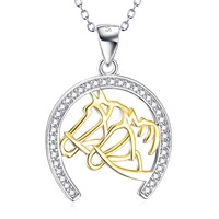 GNX10258 YFN 925 Sterling Silver Lovely Necklaces Two Horse Head Horse Hoof Crystal Pendant Necklace Luxury