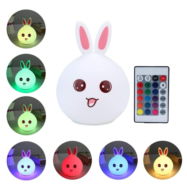 Remote Control Cute LED Children Night Light Kids Silicone Light Lamp 7-Color Flashing USB Colorful Rechargable Soft Baby Light