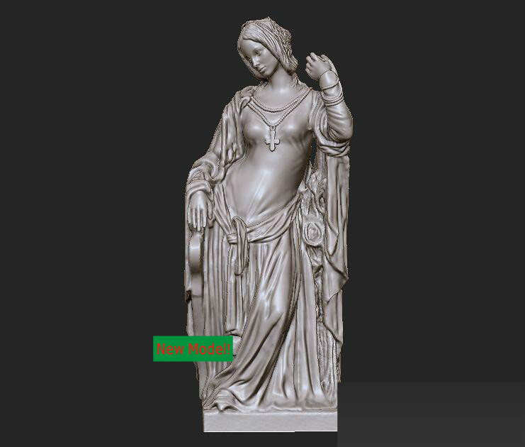 3D model relief STL models file format Jules Joseph Lefebvre icon of the mother of god undying color 3d model relief figure stl format religion 3d model relief for cnc in stl file format