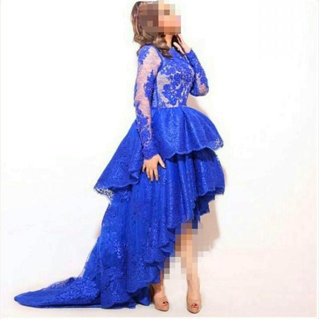 Recentes Real Laço Azul Vestidos de Noite Vestidos de Baile 2015 Applique Deslumbrante Longo Tripulação Manga Pescoço Hi Low Vestidos Especiais Da Ocasião
