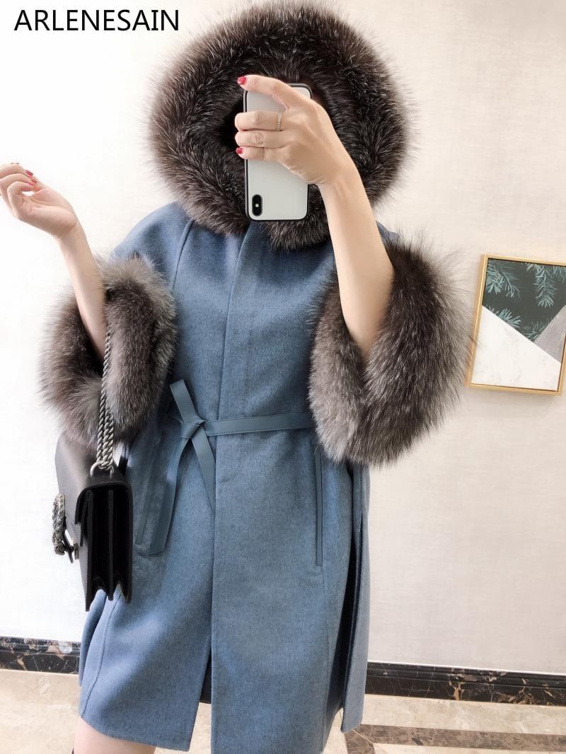 Personnalisé Renard De bleu Femmes Capot Mode Nouveau Blanc Manteau Importé Arlenesain 2018 Avec Fourrure dwZq4zvv